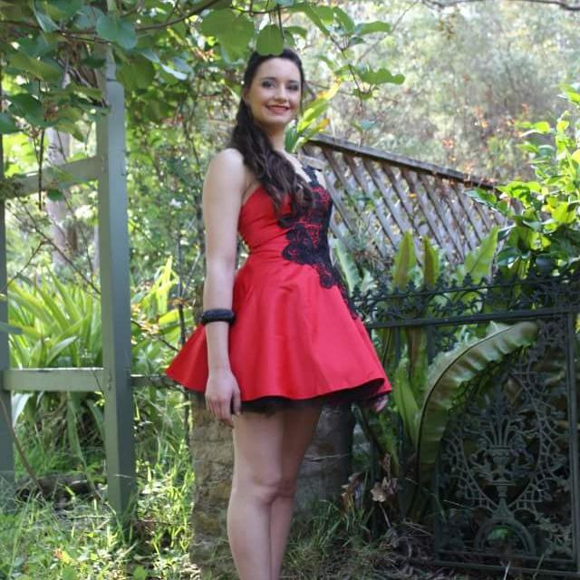 Red Formal Cocktail Dress With Black Lace Detail