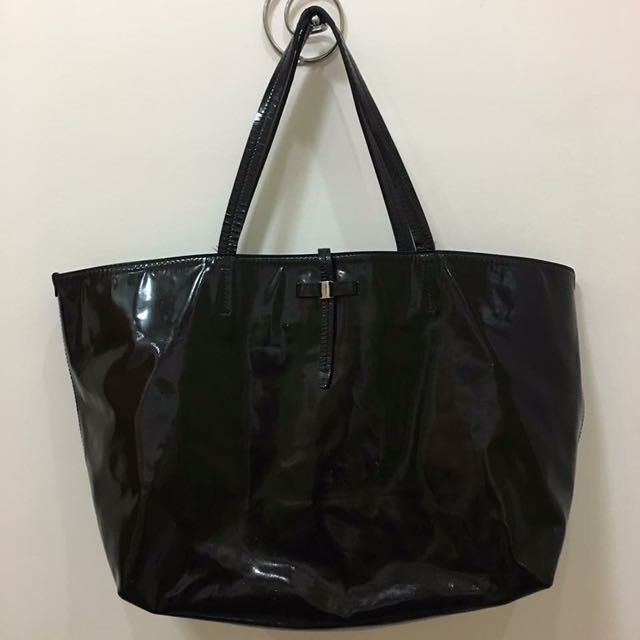 Salvatore Ferragamo Black Patent Leather Bice Tote Bag