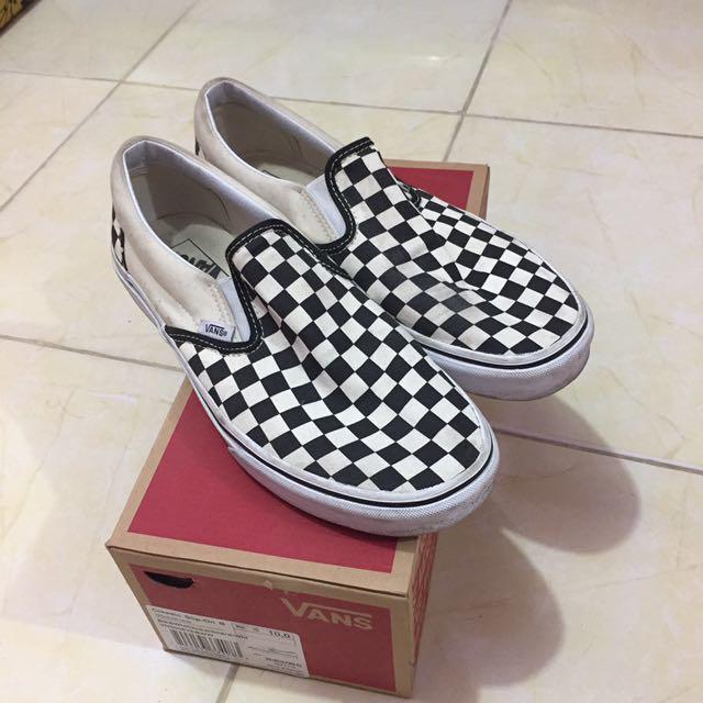 Sepatu Vans Classic Slip On B Black And White Checkerboard/White