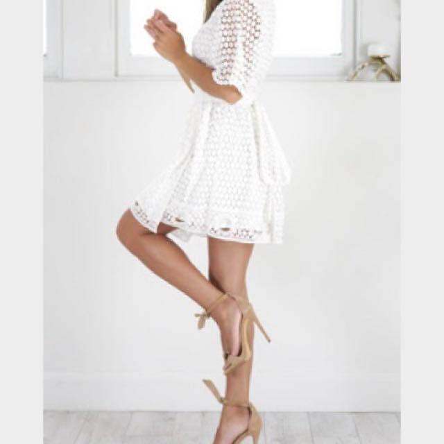 Showpo white lace wrap dress