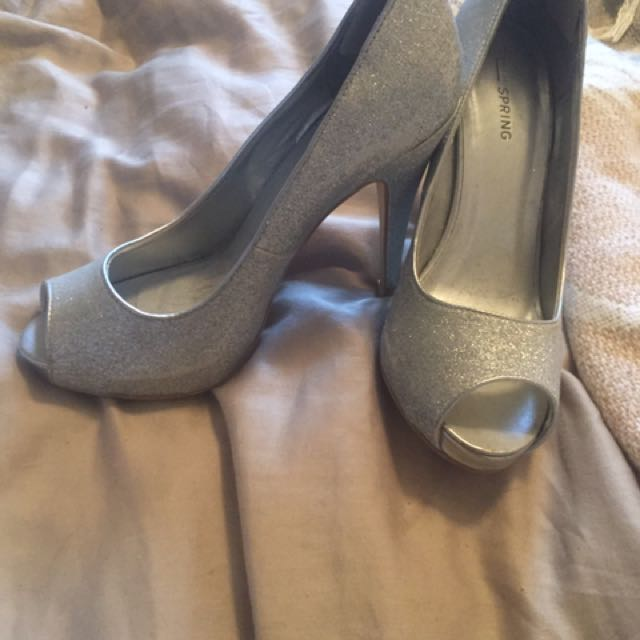 Silver High Heel Peep Toe