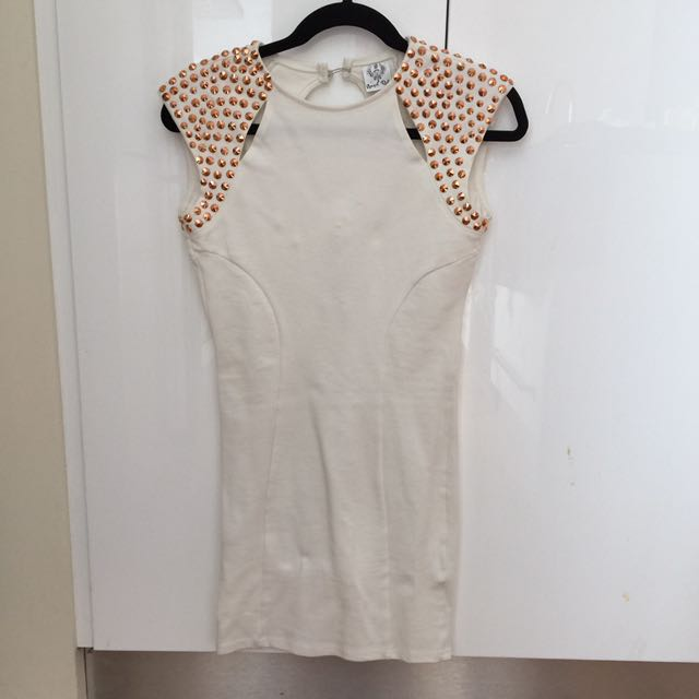Size 10 White Body Con Dress With Stud Detailing