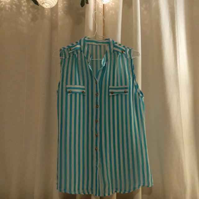 Size 12 Sheer Aqua Stripy Top