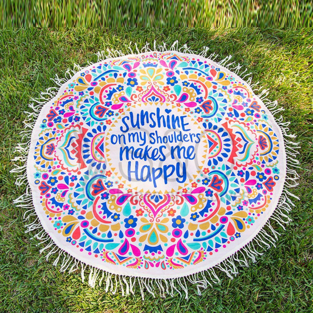 Sunshine On My Shoulders Makes Me Happy Floral Tassel Beach Mat