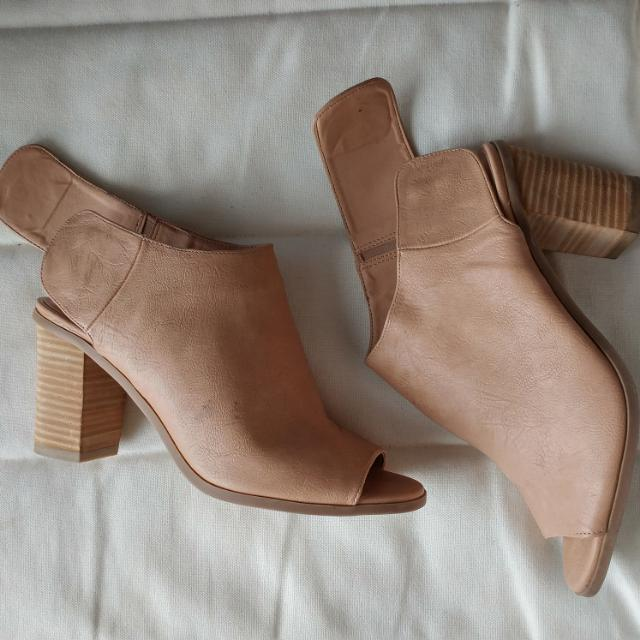 Tan Peep Toe Leather Ankle Boots/Booties