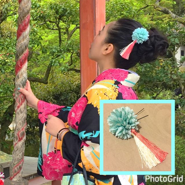 Tiffany綠 💐花髮飾/頭飾👘和服髮飾 京都