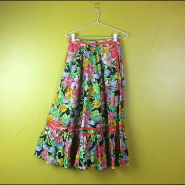 Vintage Katies Skirt Floral Midi Skirt Colourful Skirt