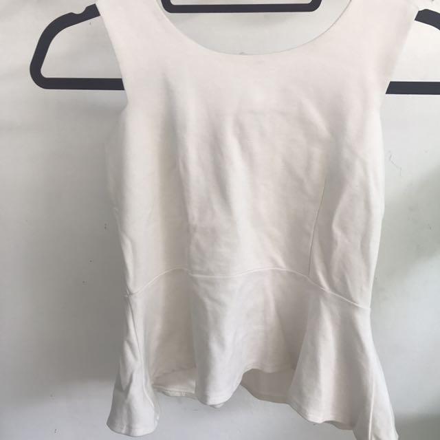 White Thick Fabric Peplum