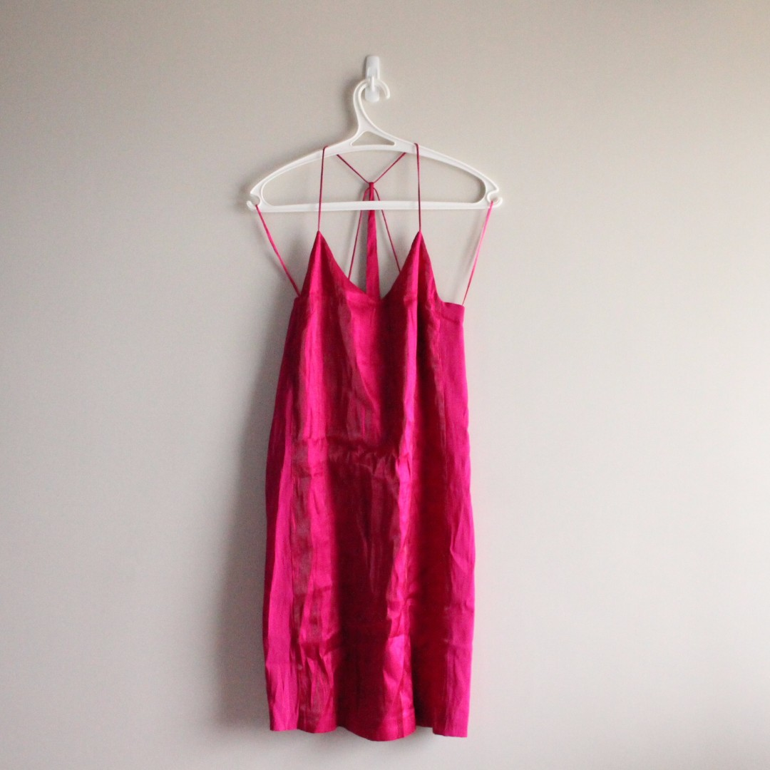 ZARA BASIC Sexy Halter Dress - Hot Pink