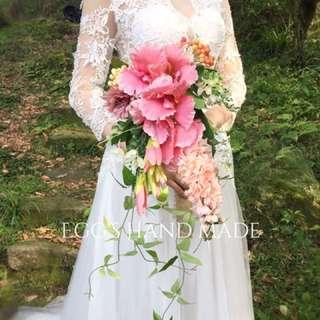 仿真花鮮花瀑布型捧花 外拍新娘秘書婚紗攝影