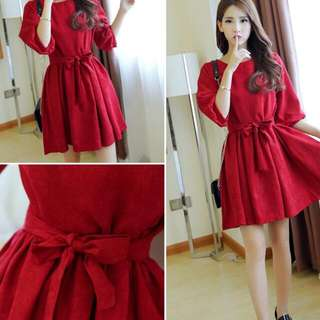 [po] red maroon classy work smart casual formal ribbon bow wide collar long sleeved dress