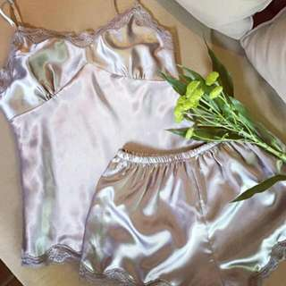 [po] silk lingerie cami camisole and shorts set