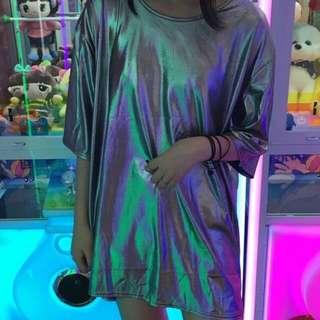 [po] metallic holo holographic mirror slip t shirt dress