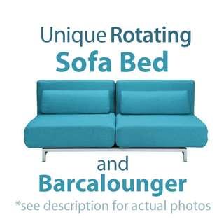 Rotating Sofa Bed Barcalounger with 2 Cushions (see actual photos)