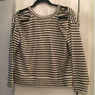BCBG Maxazria Striped Sweater with Shoulder Cut-Outs - Size S