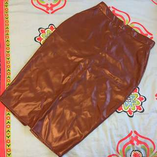 ASOS Brown Pleather Pencil Skiry