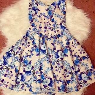 Blue Floral Strapless Dress UK Size 6