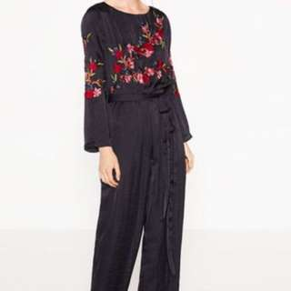 Looking For : zara Silk Embroidered Jumpsuit