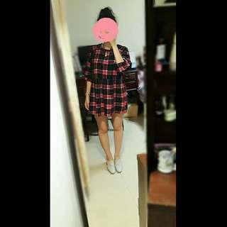 韓系格紋高腰寬鬆公主袖學院風娃娃裙厚款長袖洋裝