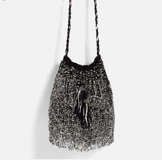 Zara Beaded Tassel Bucket Bag