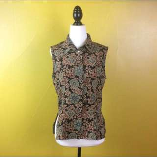 Black Floral Blouse Sleeveless Top Size 8