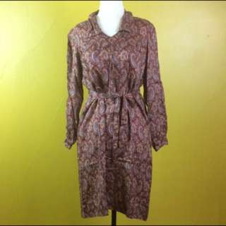 Paisley Dress With Fabric Belt Size Small