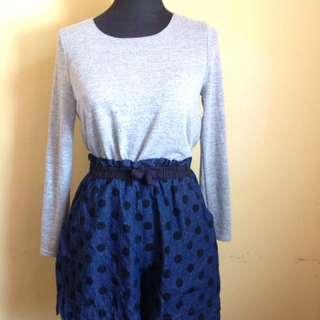 High-waisted Polka Dots Soft Denim Shorts