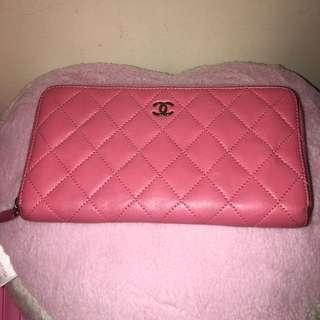 二手 香奈兒 拉鍊皮夾 桃紅色 粉紅色 ㄇ型 小羊皮