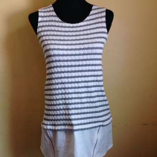 Stripe Sleeveless Top With Zippered Details