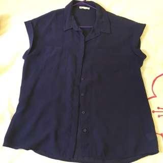 Target Navy Boxy Blouse Short Sleeved size 14