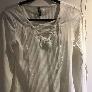 ribbed cross laced long sleeve