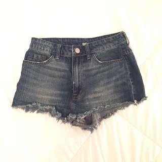 "BDG ""Super High-Rise Cheeky"" Cutoff Denim Shorts Size 28"