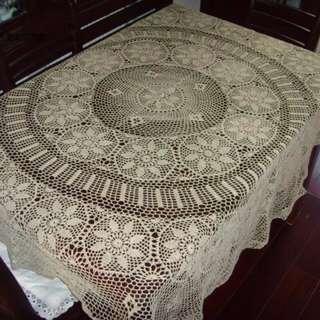 Khaki colour 70.8 Vintage Style Crochet Round Cotton Tablecloth item no 1318,鉤編圓