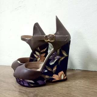 Brown Navy Floral Wedges Little Thing She Need 38
