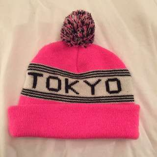 "American Apparel ""Tokyo"" Neon Pink Pom-Pom Tuque"