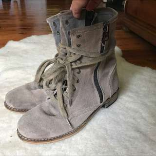 Size 7 Real Suede Beige Boots