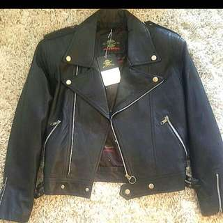 (Price Reduced) Leather -look Biker Jacket