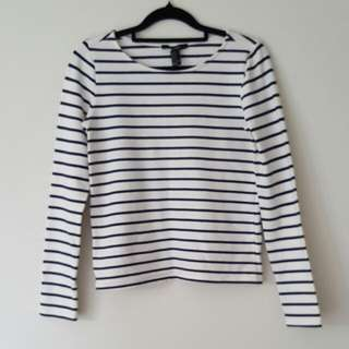 Forever21 Black And White Striped Top