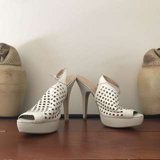 Zu Leather Net Shoes White