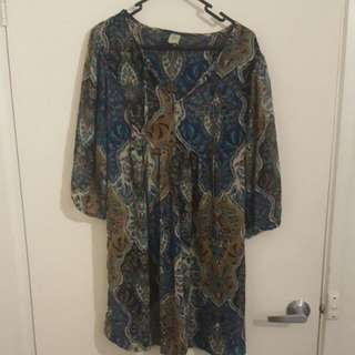 Paisley Flowing Maternity Top/ Dress Size 12 Bub2b