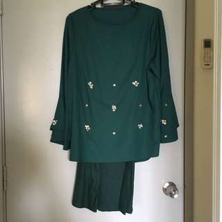 Dark Green Top And Mermaid Skirt