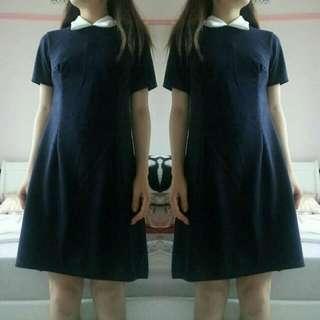 BOOHOO Robin Contrast Collar Dress