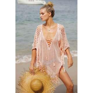 Knitted Tassle Fringe Beach Cover Up Dress