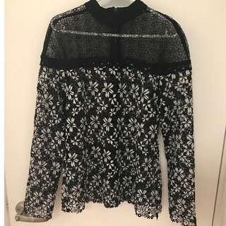 全新歐美設計款黑白蕾絲高質感露肩上衣