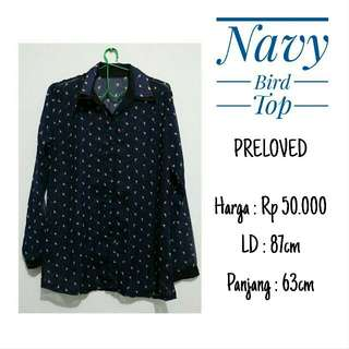 Navy Bird Top (Kemeja)
