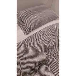 質感灰色條紋單人被套組 Nyponros單人被套組IKEA