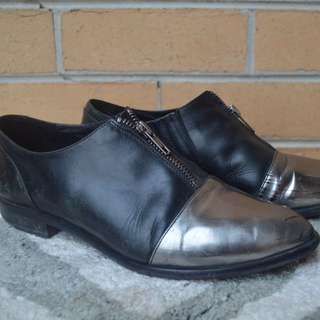 Midas Black Leather Zip Up Shoes