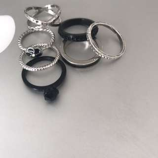 Stacker rings, Silver And Black Colette
