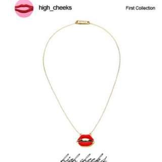 韓國免稅代購 highcheeks 人氣流行飾品  立體性感紅唇金屬項鍊 預購