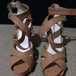 Sepatu Heels Icon Ninety9 (shoes) Warna Coklat Ukuran 36